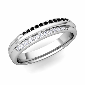 Brilliant Pave Black and White Diamond Wedding Ring in Platinum, 3.5mm