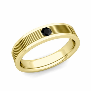 Solitaire Black Diamond Mens Wedding Band in 18k Gold Comfort Fit Ring, 5mm