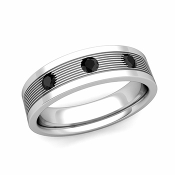 3 Stone Black Diamond Mens Wedding Band in 14k Gold Comfort Fit Ring, 5mm