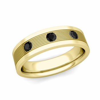 3 Stone Black Diamond Mens Wedding Band in 18k Gold Comfort Fit Ring, 5mm