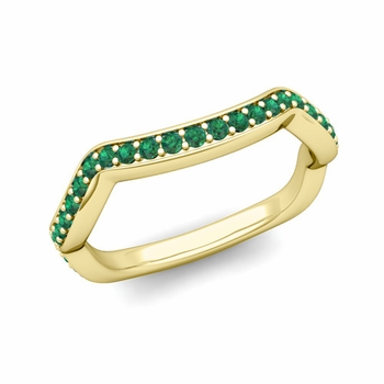 Unique Curved Emerald Wedding Ring Band in 18k Gold