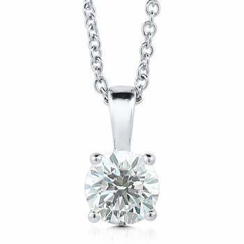 Solitaire Diamond Necklace in 14k White Gold, 4-Prong G, SI1, 0.75 ct