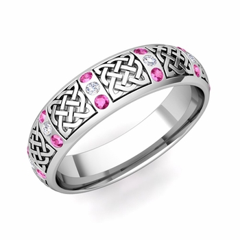 Pink Sapphire Diamond Wedding Ring in 14k Gold Celtic Wedding Band, 6mm