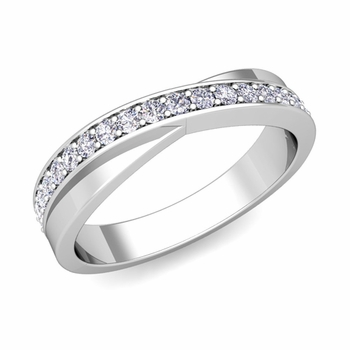 Infinity Diamond Wedding Ring Band in 14k Gold, 3.8mm