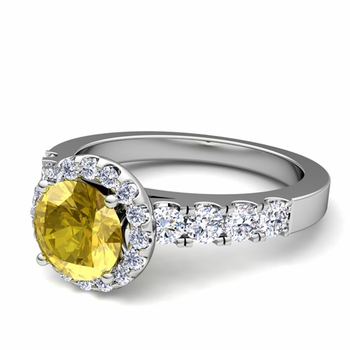 Brilliant Pave Set Diamond and Yellow Sapphire Halo Engagement Ring in Platinum, 6mm