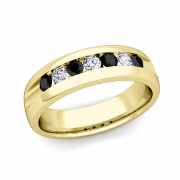 Channel Set Black and White Diamond Mens Wedding Band in 18k Gold, 6mm