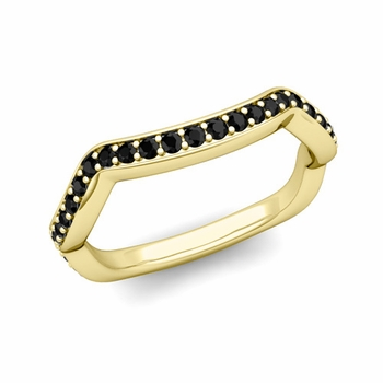 Unique Curved Black Diamond Wedding Ring Band in 18k Gold