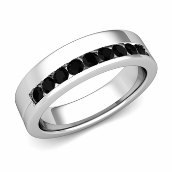 Channel Set Comfort Fit Black Diamond Wedding Ring in 14k Gold, 4mm