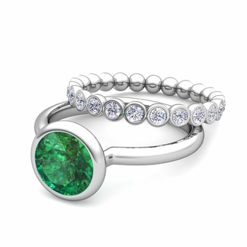 Bezel Set Emerald Ring and Diamond Wedding Ring Bridal Set in 14k Gold, 7mm