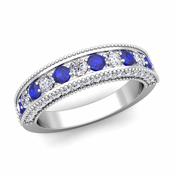 Vintage Inspired Sapphire and Diamond Wedding Ring Band in 14k Gold