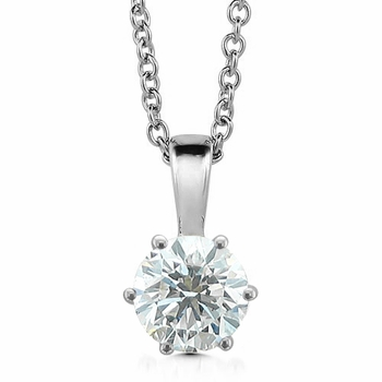 Solitaire Diamond Necklace in 14k White Gold, 6 Prong G, SI1, 0.75 ct