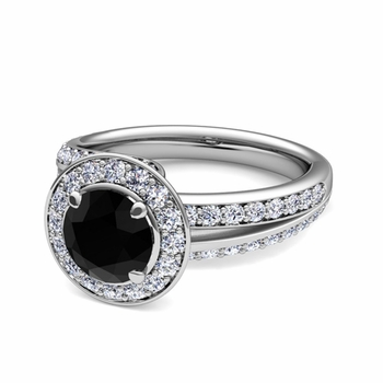 Wave Black and White Diamond Halo Engagement Ring in Platinum, 7mm