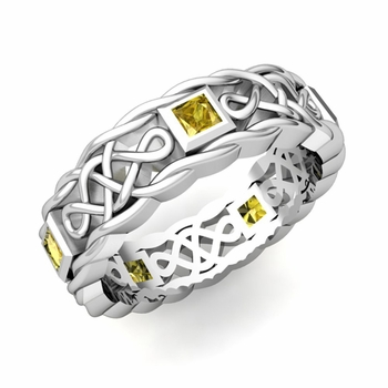 Princess Cut Yellow Sapphire Ring in 14k Gold Celtic Knot Wedding Band, 5mm
