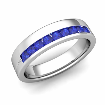 Channel Set Mens Comfort Fit Sapphire Wedding Band in Platinum, 5mm