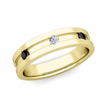 3 Stone Black and White Diamond Mens Wedding Ring in 18k Gold Comfort Fit Ring, 5mm
