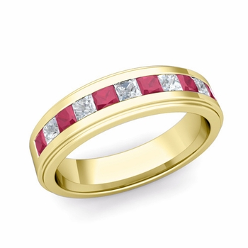 Channel Set Princess Cut Diamond and Ruby Mens Wedding Band in 18k Gold, 5.5mm
