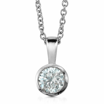 Solitaire Diamond Necklace in 14k White Gold, Bezel Set G, SI1, 0.75 ct