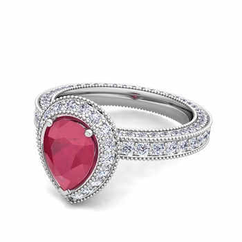 Milgrain Pear Shaped Ruby and Diamond Engagement Ring in Platinum, 7x5mm