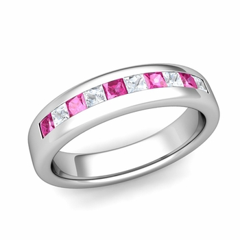Channel Set Princess Cut Diamond and Pink Sapphire Wedding Ring in Platinum, 4.5mm