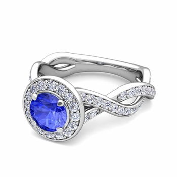 Infinity Diamond and Ceylon Sapphire Halo Engagement Ring in 14k Gold, 7mm