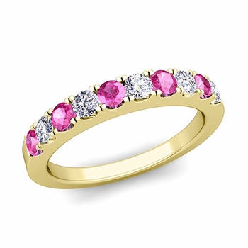 Brilliant Pave Diamond and Pink Sapphire Wedding Ring Band in 18k Gold