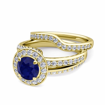 Wave Diamond and Sapphire Engagement Ring Bridal Set in 18k Gold, 7mm