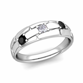 Organica 3 Stone Black and White Diamond Wedding Band in 14k Gold, 6mm