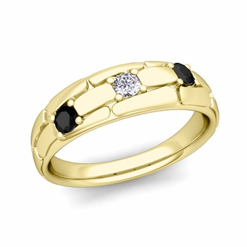 Organica 3 Stone Black and White Diamond Wedding Band in 18k Gold, 6mm