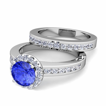 Halo Bridal Set: Diamond and Ceylon Sapphire Engagement Wedding Ring in 14k Gold, 7mm
