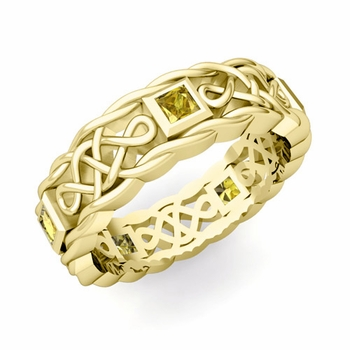 Princess Cut Yellow Sapphire Ring in 18k Gold Celtic Knot Wedding Band, 5mm