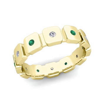 Flush Set Diamond and Emerald Mens Wedding Band in 18k Gold Comfort Fit Ring, 5mm