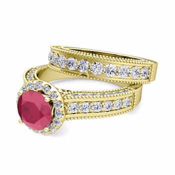 Bridal Set of Heirloom Diamond and Ruby Engagement Wedding Ring in 18k Gold, 5mm