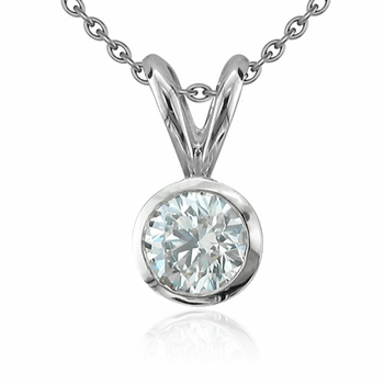Solitaire Diamond Necklace in 14k White Gold, Bezel Set G, SI1, 1.25 ct