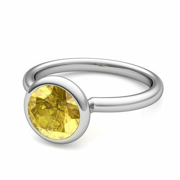 Bezel Set Solitaire Yellow Sapphire Ring in Platinum, 7mm