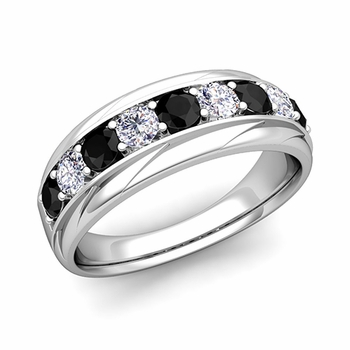 Brilliant Black and White Diamond Mens Wedding Band in 14k Gold, 7.5mm