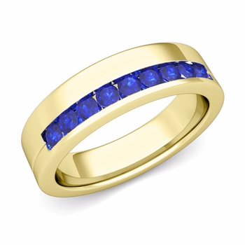 Channel Set Comfort Fit Sapphire Wedding Ring in 18k Gold, 4mm