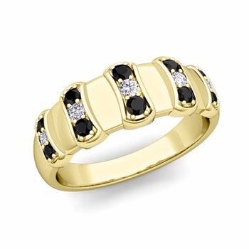 Geometric Black and White Diamond Mens Wedding Ring Band in 18k Gold, 8mm