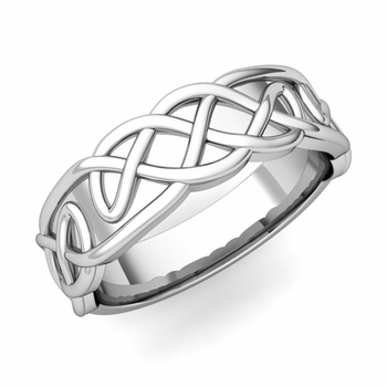 Mens Celtic Knot Ring in 14k Gold Comfort Fit Band, 6.5mm
