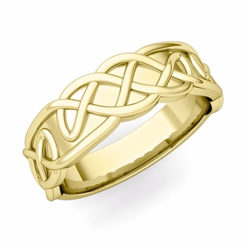 Mens Celtic Knot Ring in 18k Gold Comfort Fit Band, 6.5mm