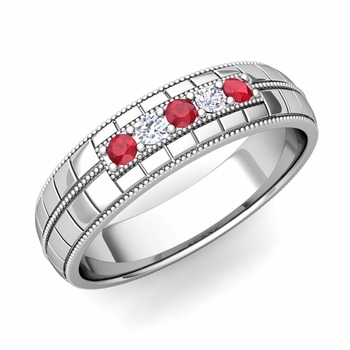 Ruby and Diamond Mens Wedding Band in Platinum 5 Stone Ring, 5mm