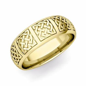 Mens Celtic Knot Wedding Band in 18k Gold Comfort Fit Ring, 7mm