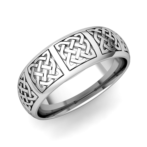 Mens Celtic Knot Wedding Band In Platinum Comfort Fit Ring 7mm