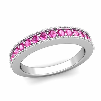 Milgrain Petite Pink Sapphire Wedding Ring Band in 14k Gold