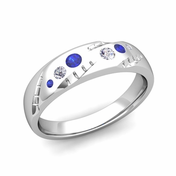 Mens Flush Set Diamond and Sapphire Wedding Band in Platinum, 6mm