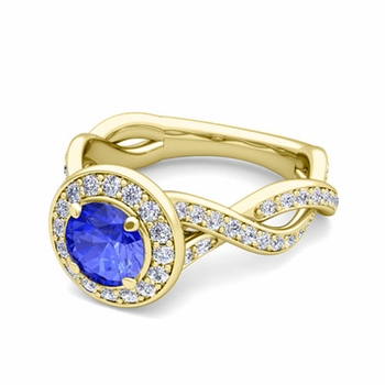 Infinity Diamond and Ceylon Sapphire Halo Engagement Ring in 18k Gold, 7mm