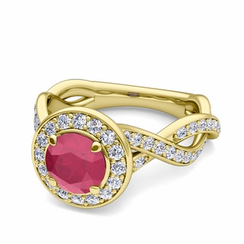 Infinity Diamond and Ruby Halo Engagement Ring in 18k Gold, 6mm