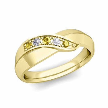 5 Stone Yellow Sapphire and Diamond Wedding Ring in 18k Gold Infinity Ring Band, 5.2mm