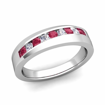 Channel Set Diamond and Ruby Wedding Band in Platinum, 4mm
