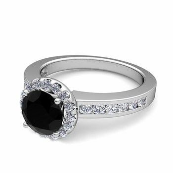 Black and White Diamond Halo Engagement Ring in 14k Gold Channel Set Ring, 6mm