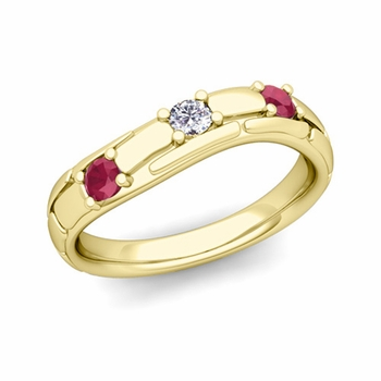 Organica 3 Stone Diamond Ruby Wedding Ring in 18k Gold, 3mm